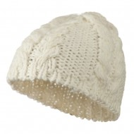 Thick Cable Knit Beanie Cap - Ivory