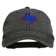 Texas State Map Embroidered Washed Cotton Cap - Black