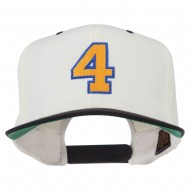 Athletic Number 4 Embroidered Classic Two Tone Cap - Natural Black