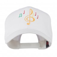Treble Clef with Notes Embroidered Cap - White