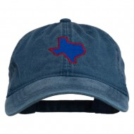 Texas State Map Embroidered Washed Cotton Cap - Navy