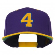 Athletic Number 4 Embroidered Classic Two Tone Cap - Purple Gold