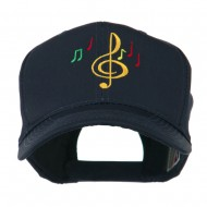 Treble Clef with Notes Embroidered Cap - Navy