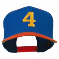 Athletic Number 4 Embroidered Classic Two Tone Cap - Royal Orange