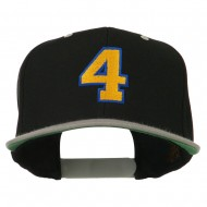 Athletic Number 4 Embroidered Classic Two Tone Cap - Black Grey