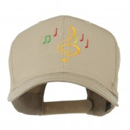 Treble Clef with Notes Embroidered Cap - Khaki