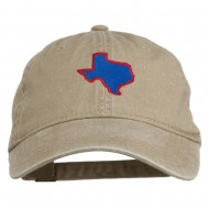 Texas State Map Embroidered Washed Cotton Cap - Khaki