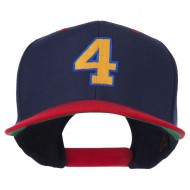 Athletic Number 4 Embroidered Classic Two Tone Cap - Navy Red
