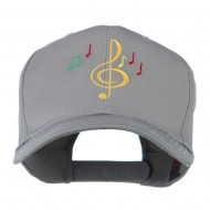 Treble Clef with Notes Embroidered Cap - Grey