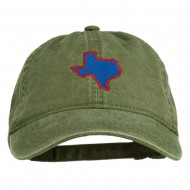 Texas State Map Embroidered Washed Cotton Cap - Olive Green