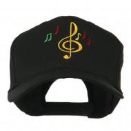 Treble Clef with Notes Embroidered Cap - Black