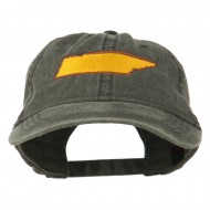 Tennessee State Map Embroidered Washed Cotton Cap - Black