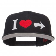 I Heart Right Embroidered Cotton Snapback - Black