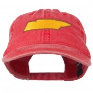 Tennessee State Map Embroidered Washed Cotton Cap - Red
