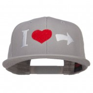 I Heart Right Embroidered Cotton Snapback - Grey