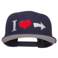 I Heart Right Embroidered Cotton Snapback - Navy