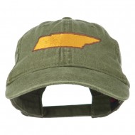 Tennessee State Map Embroidered Washed Cotton Cap - Olive Green