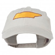 Tennessee State Map Embroidered Washed Cotton Cap - Stone