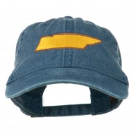 Tennessee State Map Embroidered Washed Cotton Cap - Navy
