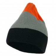 Three Colors Striped Knitted Beanie - Orange