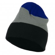 Three Colors Striped Knitted Beanie - Royal