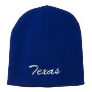 Texas Embroidered Short Beanie - Royal