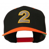 Arial Number 2 Embroidered Classic Two Tone Cap - Neon Orange