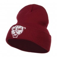 Tiger Emblem Embroidered Long Beanie - Maroon