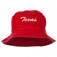 Texas Embroidered Pigment Dyed Bucket Hat - Red