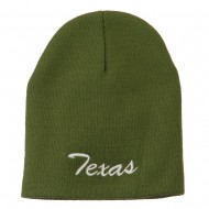 Texas Embroidered Short Beanie - Olive
