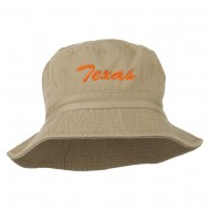 Texas Embroidered Pigment Dyed Bucket Hat - Khaki