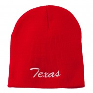 Texas Embroidered Short Beanie - Red