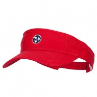 Tennessee Flag Logo Embroidered Pro Style Cotton Washed Visor - Red