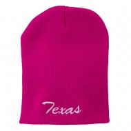 Texas Embroidered Short Beanie - Hot Pink