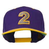 Arial Number 2 Embroidered Classic Two Tone Cap - Purple Gold