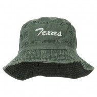 Texas Embroidered Pigment Dyed Bucket Hat - Green