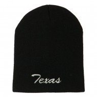 Texas Embroidered Short Beanie - Black