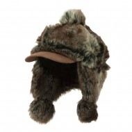 Faux Fur Trapper Hat with Pom Pom Accent - Brown