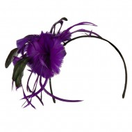 Feather Accent Headband Fascinator - Purple