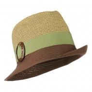 UPF 50+ Two Toned Tweed Fedora - Brown