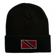 Trinidad Flag Embroidered Long Knitted Beanie - Black