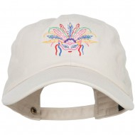Mardi Gras Feather Mask Embroidered Washed Cap - Beige