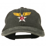 12th Air Force Badge Embroidered Washed Cap - Black