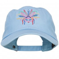 Mardi Gras Feather Mask Embroidered Washed Cap - Blue