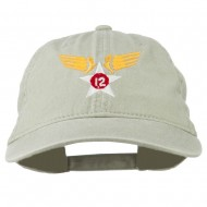 12th Air Force Badge Embroidered Washed Cap - Stone