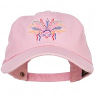 Mardi Gras Feather Mask Embroidered Washed Cap - Lt Pink