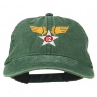 12th Air Force Badge Embroidered Washed Cap - Dk Green