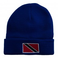 Trinidad Flag Embroidered Long Knitted Beanie - Royal