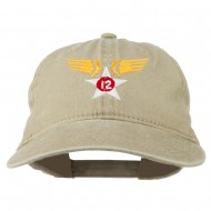 12th Air Force Badge Embroidered Washed Cap - Khaki