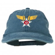 12th Air Force Badge Embroidered Washed Cap - Navy